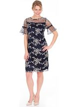 Embroidered Mesh Midi Dress Midnight/Multi - Gallery Image 1