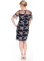 Embroidered Mesh Midi Dress Midnight/Multi - Gallery Image 2