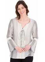 Fluted Sleeve Stripe Top