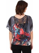 Embellished Floral Print Top Black/White/Red - Gallery Image 2