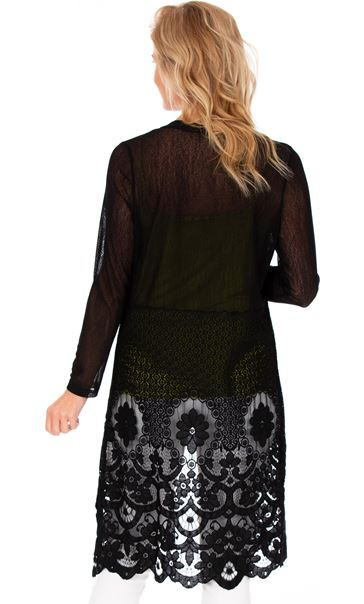 Longline Lace Border Open Cover Up Black - Gallery Image 2