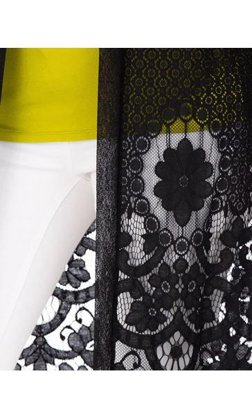 Longline Lace Border Open Cover Up Black - Gallery Image 3