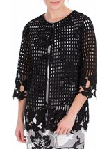 Anna Rose Long Crochet Cover Up Black - Gallery Image 2