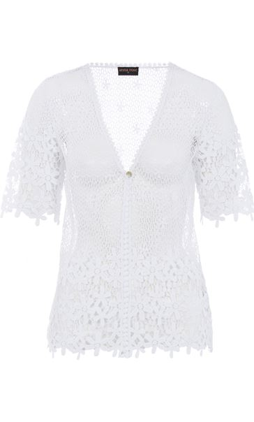 Anna Rose Short Sleeve Crochet Cover Up Ivory