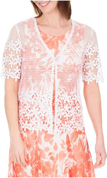 Anna Rose Short Sleeve Crochet Cover Up Ivory - Gallery Image 2