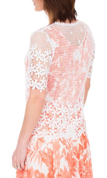 Anna Rose Short Sleeve Crochet Cover Up Ivory - Gallery Image 3