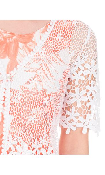 Anna Rose Short Sleeve Crochet Cover Up Ivory - Gallery Image 4