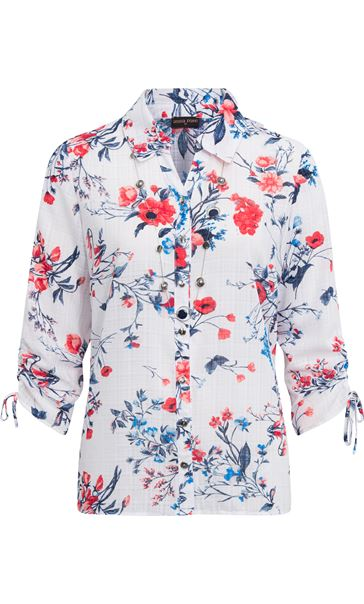 Anna Rose Floral Print Blouse With Necklace Multi