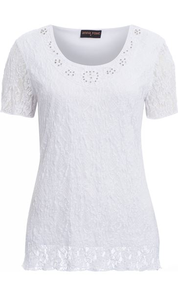 Anna Rose Embellished Lace Top White