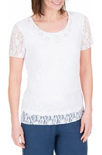 Anna Rose Embellished Lace Top