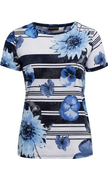 Anna Rose Floral Stripe Top White/Blue