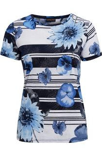 Anna Rose Floral Stripe Top