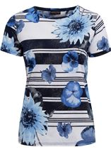 Anna Rose Floral Stripe Top White/Blue - Gallery Image 1