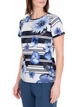 Anna Rose Floral Stripe Top White/Blue - Gallery Image 2