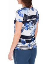 Anna Rose Floral Stripe Top White/Blue - Gallery Image 3