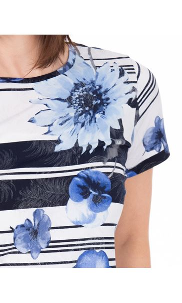 Anna Rose Floral Stripe Top White/Blue - Gallery Image 4