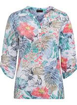 Anna Rose Embellished Print Top Blue/Coral - Gallery Image 1