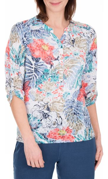 Anna Rose Embellished Print Top Blue/Coral - Gallery Image 2