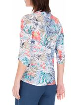 Anna Rose Embellished Print Top Blue/Coral - Gallery Image 3