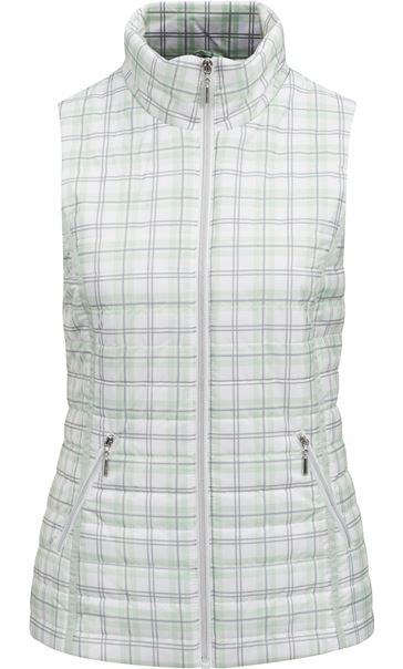 Anna Rose Check Gilet Mint Green