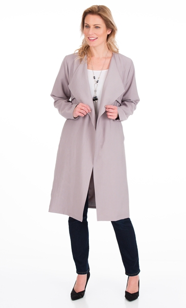 Longline Open Front Coat Silver Grey