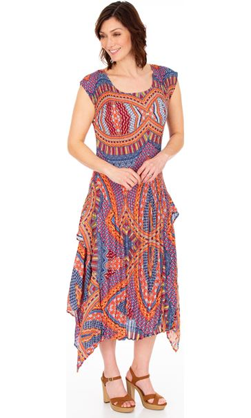 Dip Hem Pleated Print Maxi Dress Blue/Coral