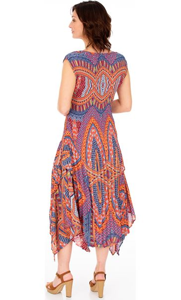 Dip Hem Pleated Print Maxi Dress Blue/Coral - Gallery Image 2