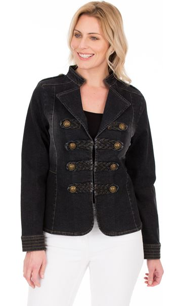 Military Style Denim  Jacket Black