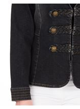 Military Style Denim  Jacket Black - Gallery Image 3