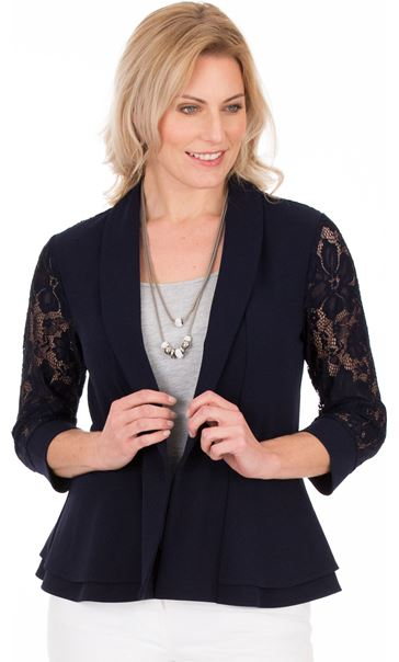 Three Quarter Sleeve Lace Trim Cover Up Midnight