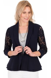 Lace Trim Open Jacket