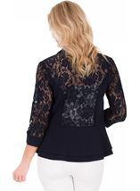 Three Quarter Sleeve Lace Trim Cover Up Midnight - Gallery Image 2