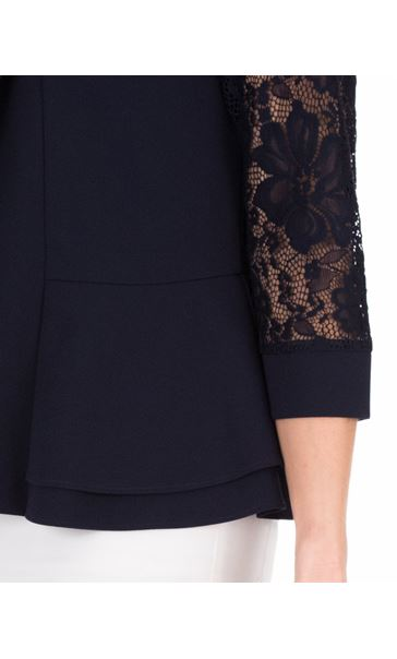 Three Quarter Sleeve Lace Trim Cover Up Midnight - Gallery Image 3