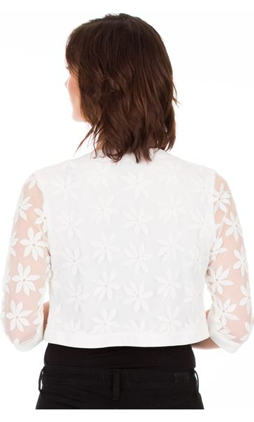 Embroidered Cropped Mesh Open Jacket