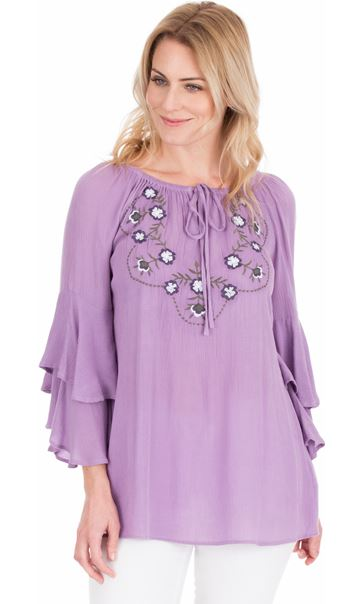 Embroidered Layered Sleeve Top Lilac