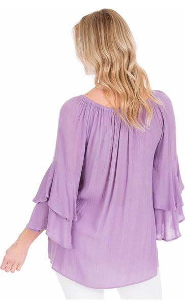 Embroidered Layered Sleeve Top Lilac - Gallery Image 2