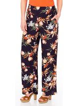 Printed Wide Leg Pull On Trousers Midnight/Multi - Gallery Image 1