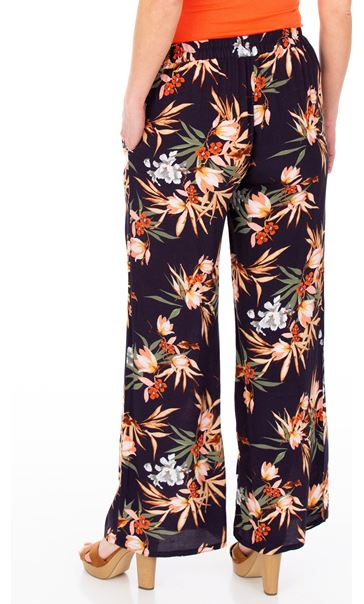 Printed Wide Leg Pull On Trousers Midnight/Multi - Gallery Image 2