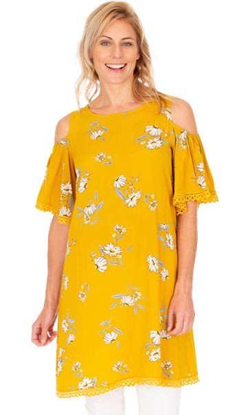 Cold Shoulder Printed Tunic Mustard
