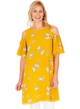Cold Shoulder Printed Tunic Mustard - Gallery Image 1