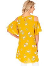 Cold Shoulder Printed Tunic Mustard - Gallery Image 2