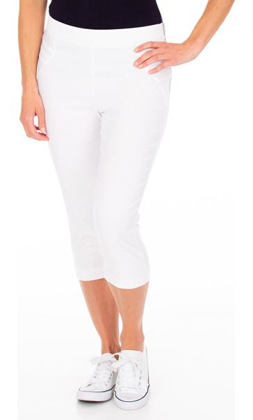 Slim Leg Cropped Trousers White