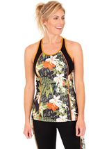Contrast Panelled Gym Top Black/Orange/Multi - Gallery Image 1