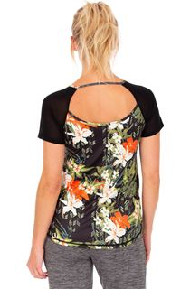 Floral Printed Short Sleeve Gym Top