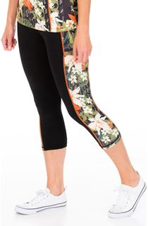 Cropped Floral Panelled Gym Leggings