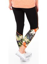 Full Length Floral Panelled Gym Leggings Black/Orange/Multi - Gallery Image 2