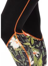 Full Length Floral Panelled Gym Leggings Black/Orange/Multi - Gallery Image 3