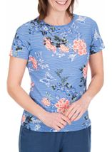 Anna Rose Floral Print Textured Top Cornflower/Multi - Gallery Image 1
