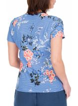 Anna Rose Floral Print Textured Top Cornflower/Multi - Gallery Image 2