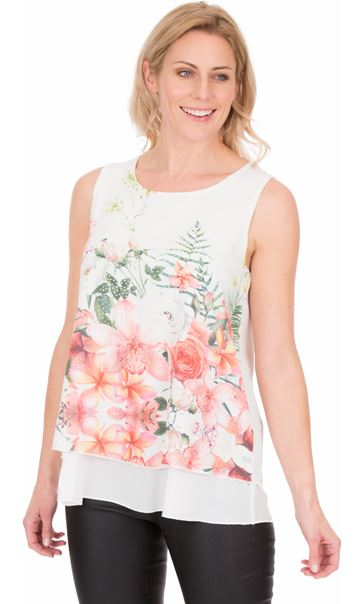 Bouquet Printed Sleeveless Crepe Top Ivory/Coral